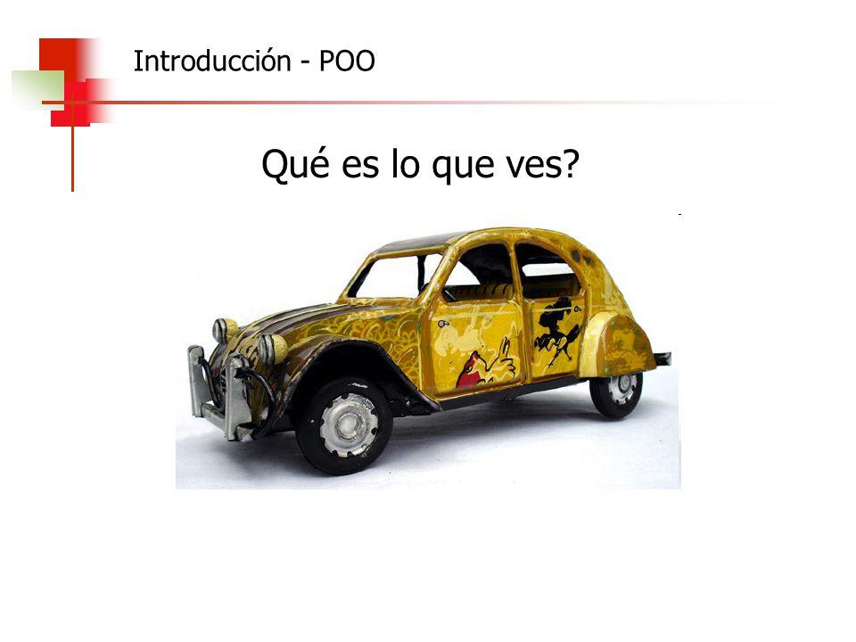 Program uno; Var a1,a2: Auto; Notar que a diferencia de los TADs, las operaciones se identifican como varObjeto.método (salvo el constructor) Begin a1:= Auto.crear (Citroen,3CV,amarillo, 50); a1.arrancar; a1.acelerar (100); a1.desacelerar(30); a2:= Auto.crear (Ferrari,2007,roja, 100); a2.arrancar; End.