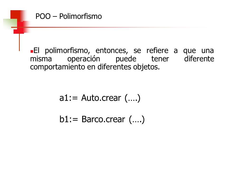 El polimorfismo, entonces, se refiere a que una misma operación puede tener diferente comportamiento en diferentes objetos. a1:= Auto.crear (….) b1:=