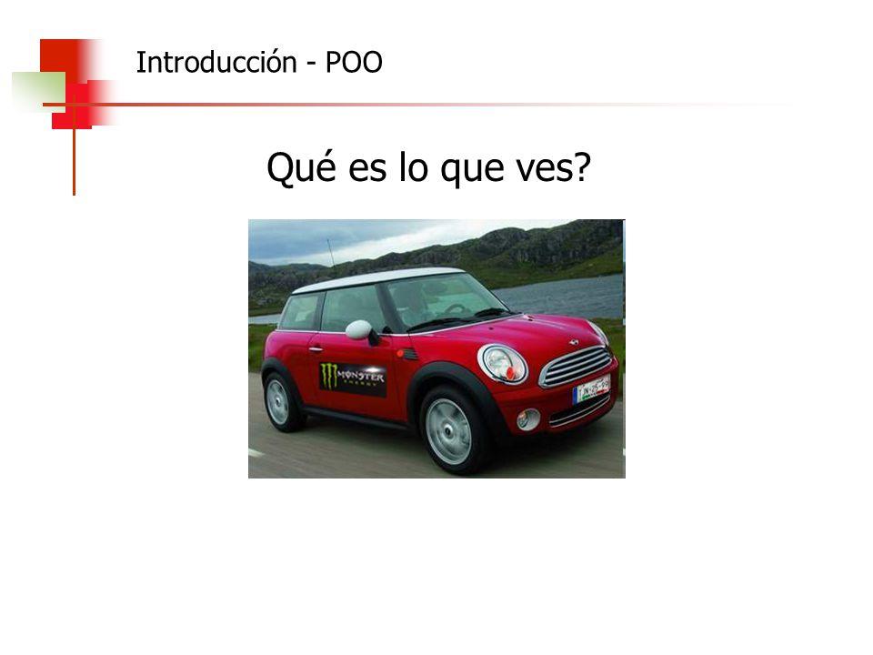 Algoritmos, Datos y Programas 2010 Clase auto; marca: string; modelo: string color: string; velocidad: integer; capacidad baúl: real; miMotor:motor; constructor crear (unaMarca,unModelo,unColor:string; unaVelocidad, unaCapacidad:real; marcaMotor:string; valvulasMotor:integer) procedure arrancar(vel:integer) Begin marca:= unaMarca; modelo:= unModelo; color:= unColor; capacidad:= unaCapacidad; miMotor:= Motor.crear(marcaMotor, valvulasMotor); End; Begin velocidad:= 0; miMotor.arrancar; End; POO - Clases