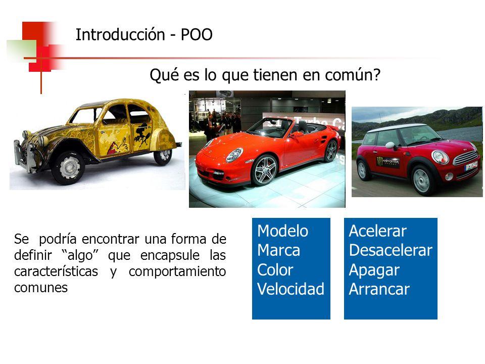 procedure apagar; Begin velocidad:= 0; miMotor.apagar; End; procedure acelerar (vel:integer) Begin velocidad:= velocidad + vel; End; procedure pintar (unColor:string) Begin color:= unColor; End; procedure verColor (var unColor:string) Begin unColor:= color; End; procedure desacelerar (vel:integer) Begin velocidad:= velocidad - vel; End; POO - Clases