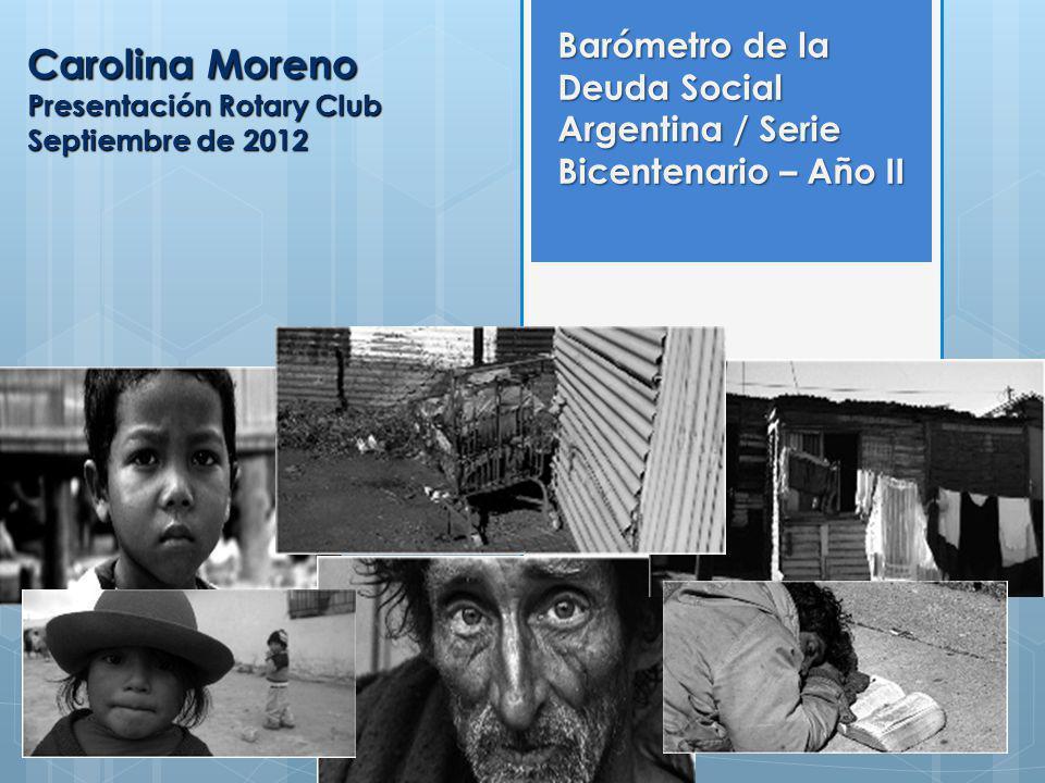 Carolina Moreno Presentación Rotary Club Septiembre de 2012 Barómetro de la Deuda Social Argentina / Serie Bicentenario – Año II