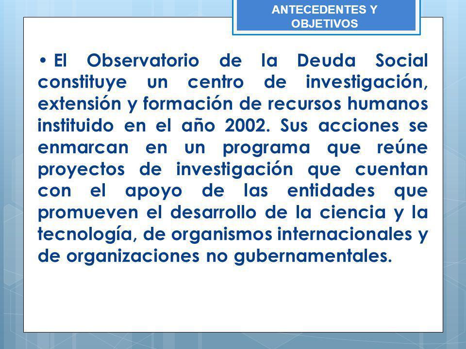 El Observatorio de la Deuda Social constituye un centro de investigación, extensión y formación de recursos humanos instituido en el año 2002. Sus acc