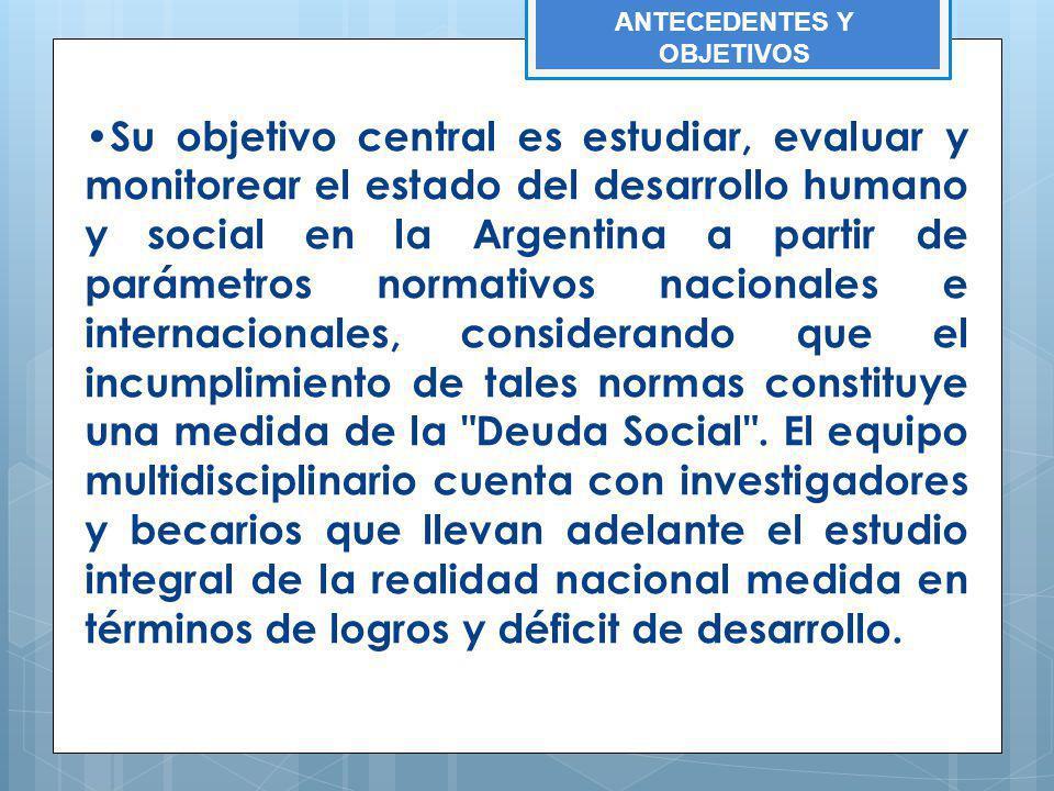 Su objetivo central es estudiar, evaluar y monitorear el estado del desarrollo humano y social en la Argentina a partir de parámetros normativos nacio