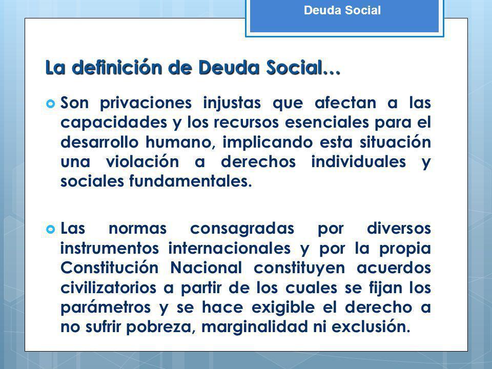 Deuda Social La definición de Deuda Social… Son privaciones injustas que afectan a las capacidades y los recursos esenciales para el desarrollo humano