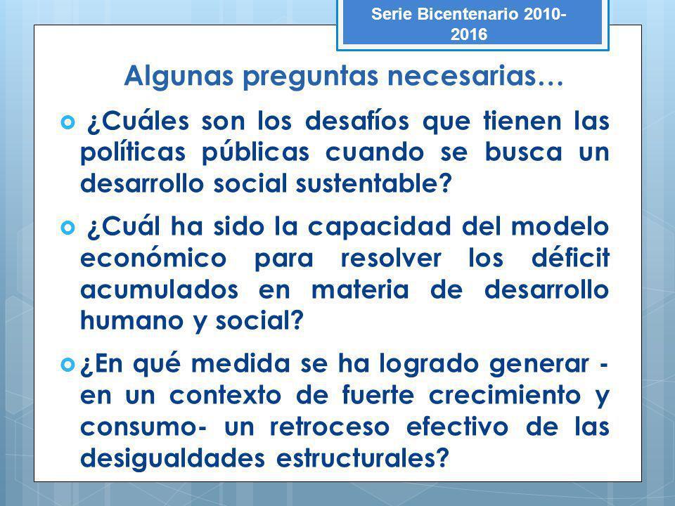 Algunas preguntas necesarias… ¿Cuáles son los desafíos que tienen las políticas públicas cuando se busca un desarrollo social sustentable? ¿Cuál ha si