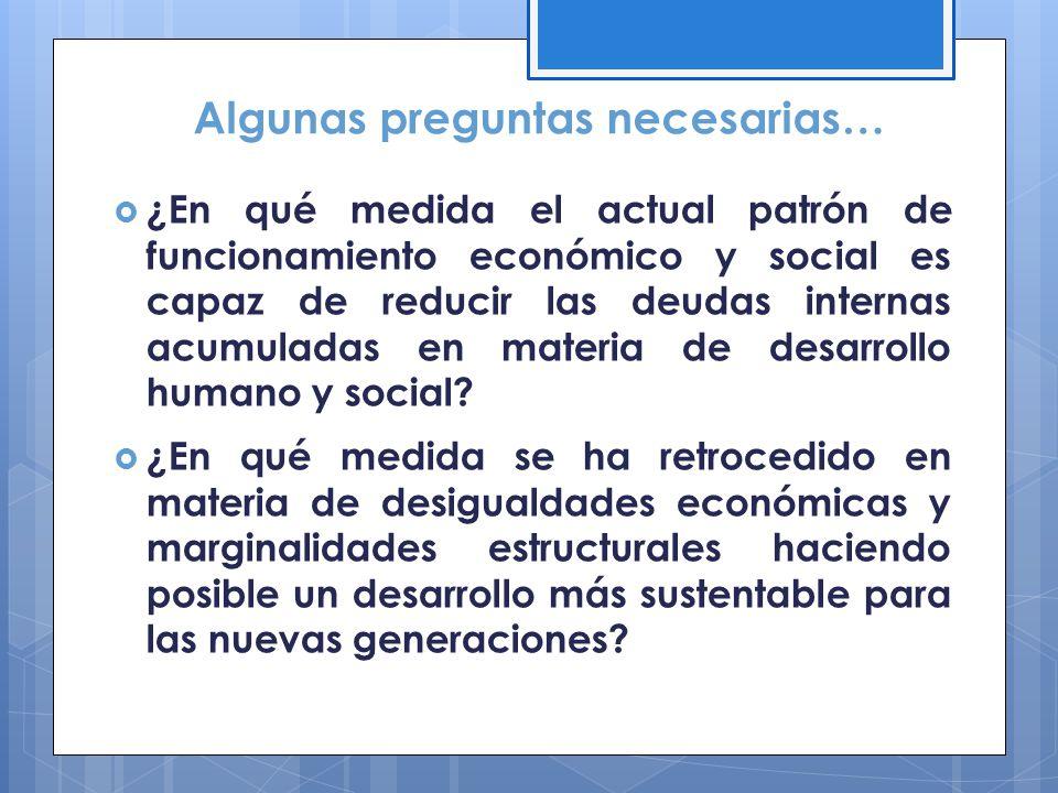 Algunas preguntas necesarias… ¿En qué medida el actual patrón de funcionamiento económico y social es capaz de reducir las deudas internas acumuladas