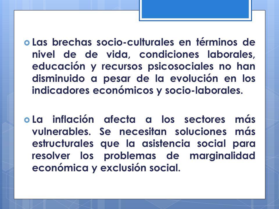 Las brechas socio-culturales en términos de nivel de de vida, condiciones laborales, educación y recursos psicosociales no han disminuido a pesar de l