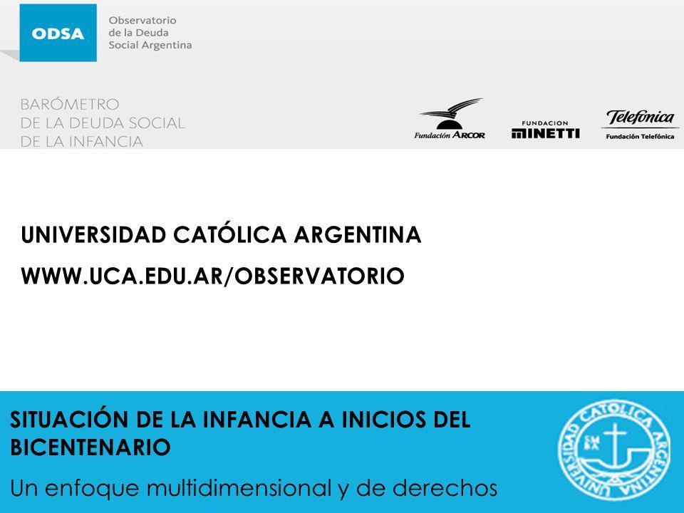 SITUACIÓN DE LA INFANCIA A INICIOS DEL BICENTENARIO Un enfoque multidimensional y de derechos UNIVERSIDAD CATÓLICA ARGENTINA WWW.UCA.EDU.AR/OBSERVATOR