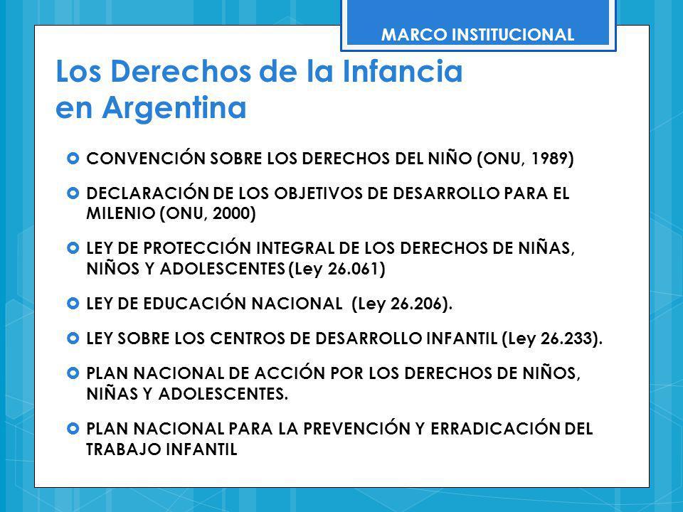 Los Derechos de la Infancia en Argentina CONVENCIÓN SOBRE LOS DERECHOS DEL NIÑO (ONU, 1989) DECLARACIÓN DE LOS OBJETIVOS DE DESARROLLO PARA EL MILENIO
