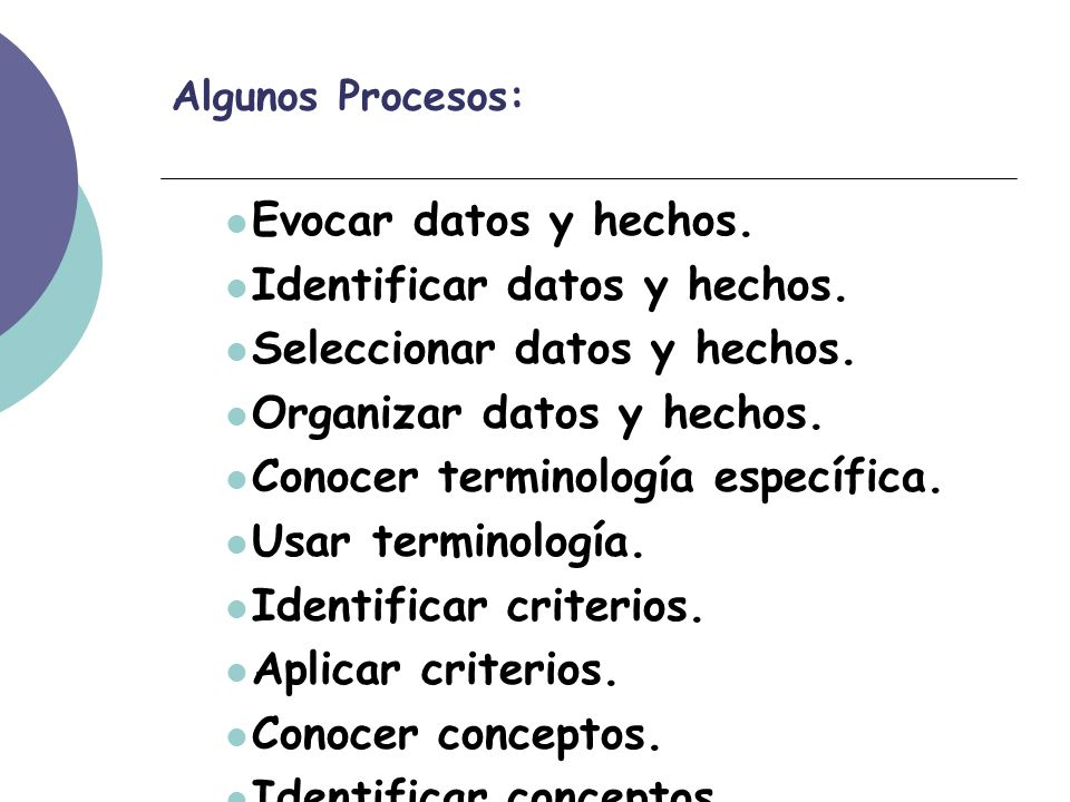 Algunos Procesos: Evocar datos y hechos. Identificar datos y hechos.