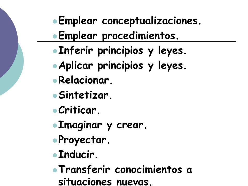 Emplear conceptualizaciones. Emplear procedimientos.