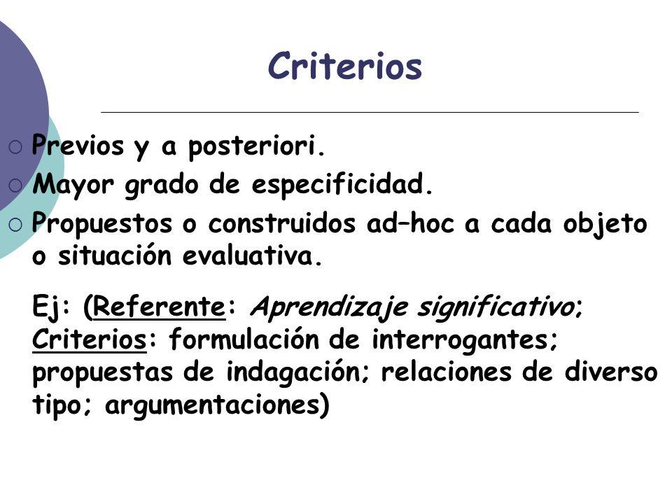 Criterios Previos y a posteriori. Mayor grado de especificidad.