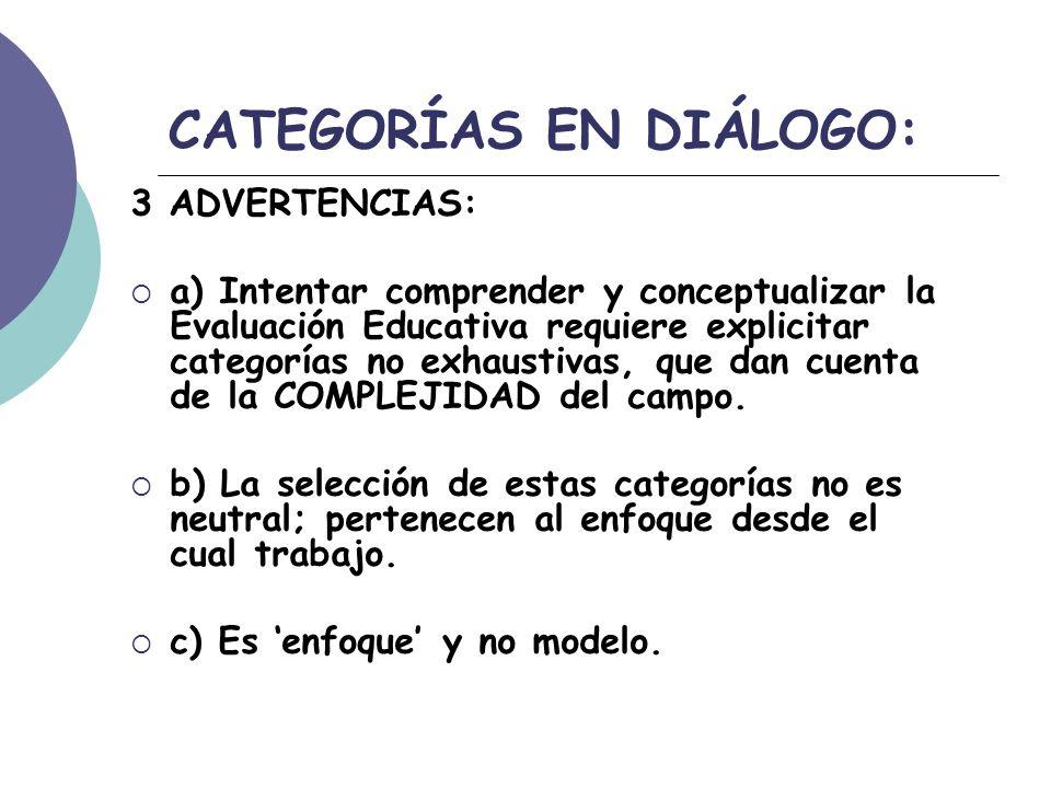 CATEGORÍAS EN DIÁLOGO: 3 ADVERTENCIAS: a) Intentar comprender y conceptualizar la Evaluación Educativa requiere explicitar categorías no exhaustivas, que dan cuenta de la COMPLEJIDAD del campo.