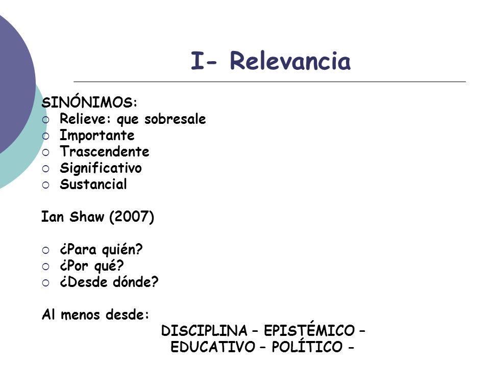 I- Relevancia SINÓNIMOS: Relieve: que sobresale Importante Trascendente Significativo Sustancial Ian Shaw (2007) ¿Para quién.