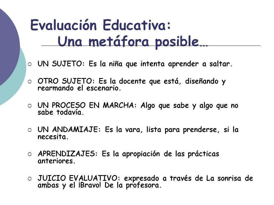 Evaluación Educativa: Una metáfora posible… UN SUJETO: Es la niña que intenta aprender a saltar.
