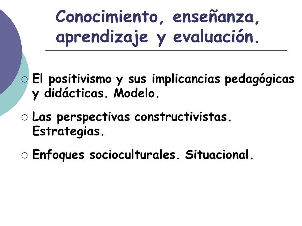 Conocimiento, enseñanza, aprendizaje y evaluación.