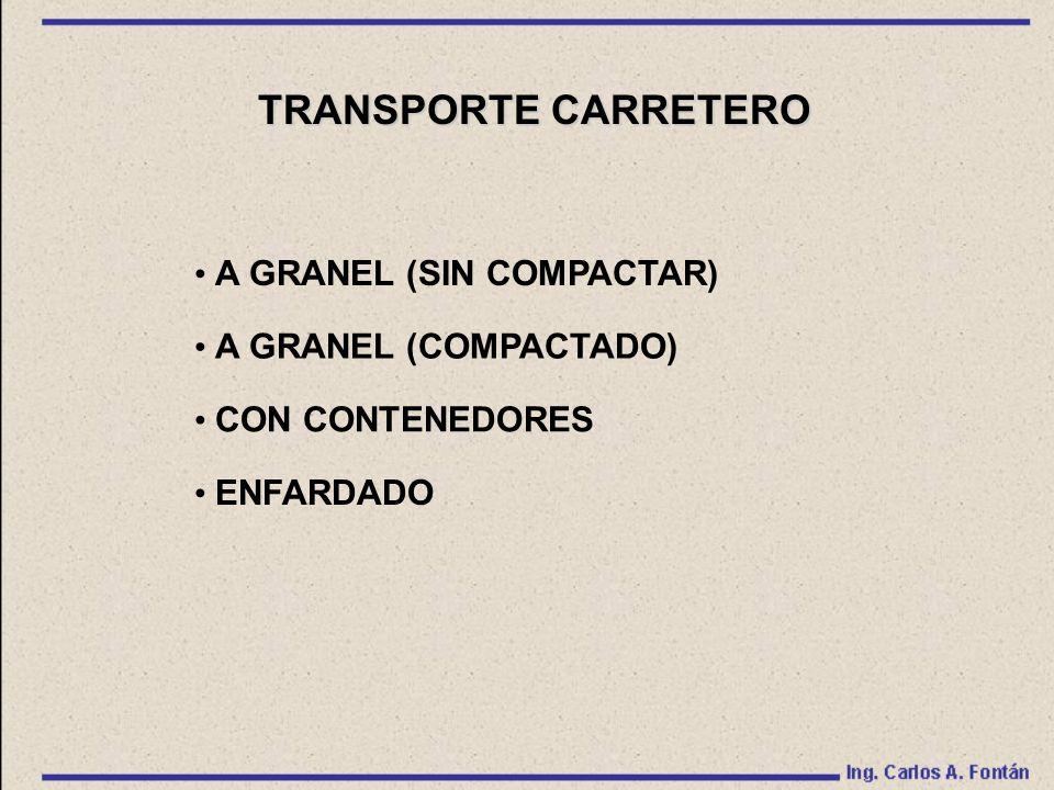 TRANSPORTE CARRETERO A GRANEL (SIN COMPACTAR) A GRANEL (COMPACTADO) CON CONTENEDORES ENFARDADO