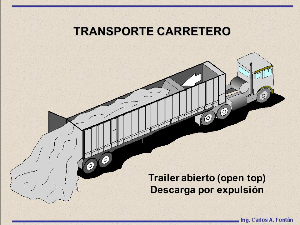 Trailer abierto (open top) Descarga por expulsión TRANSPORTE CARRETERO