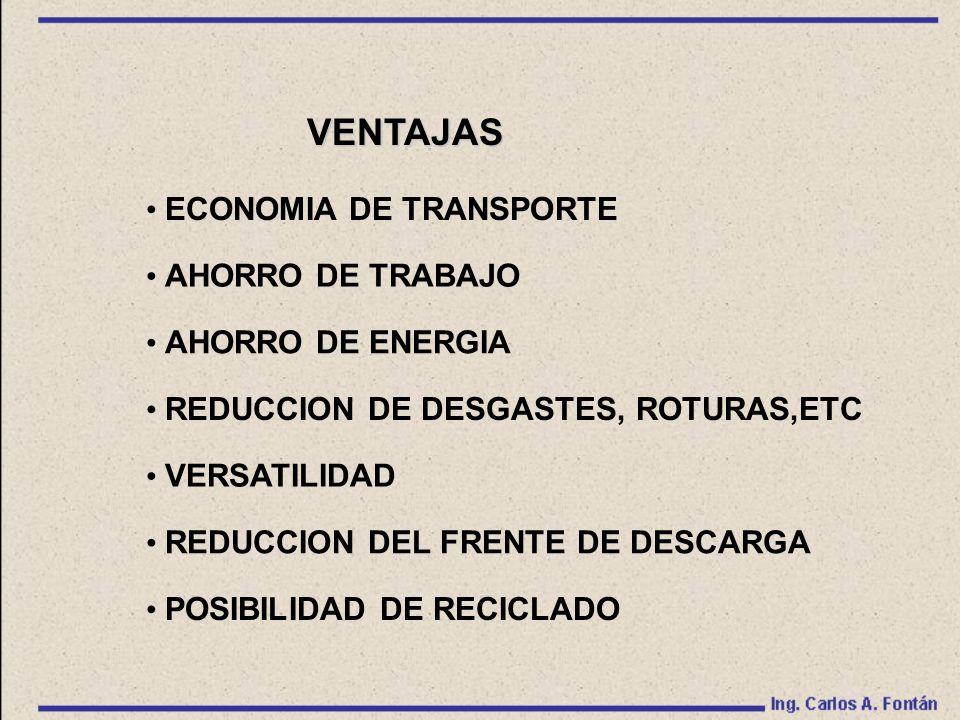 VENTAJAS ECONOMIA DE TRANSPORTE AHORRO DE TRABAJO AHORRO DE ENERGIA REDUCCION DE DESGASTES, ROTURAS,ETC VERSATILIDAD REDUCCION DEL FRENTE DE DESCARGA POSIBILIDAD DE RECICLADO