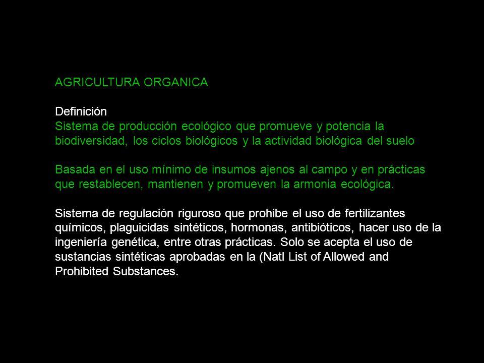 SSuioSSuio AGRICULTURA ORGANICA Definición Sistema de producción ecológico que promueve y potencia la biodiversidad, los ciclos biológicos y la actividad biológica del suelo Basada en el uso mínimo de insumos ajenos al campo y en prácticas que restablecen, mantienen y promueven la armonia ecológica.