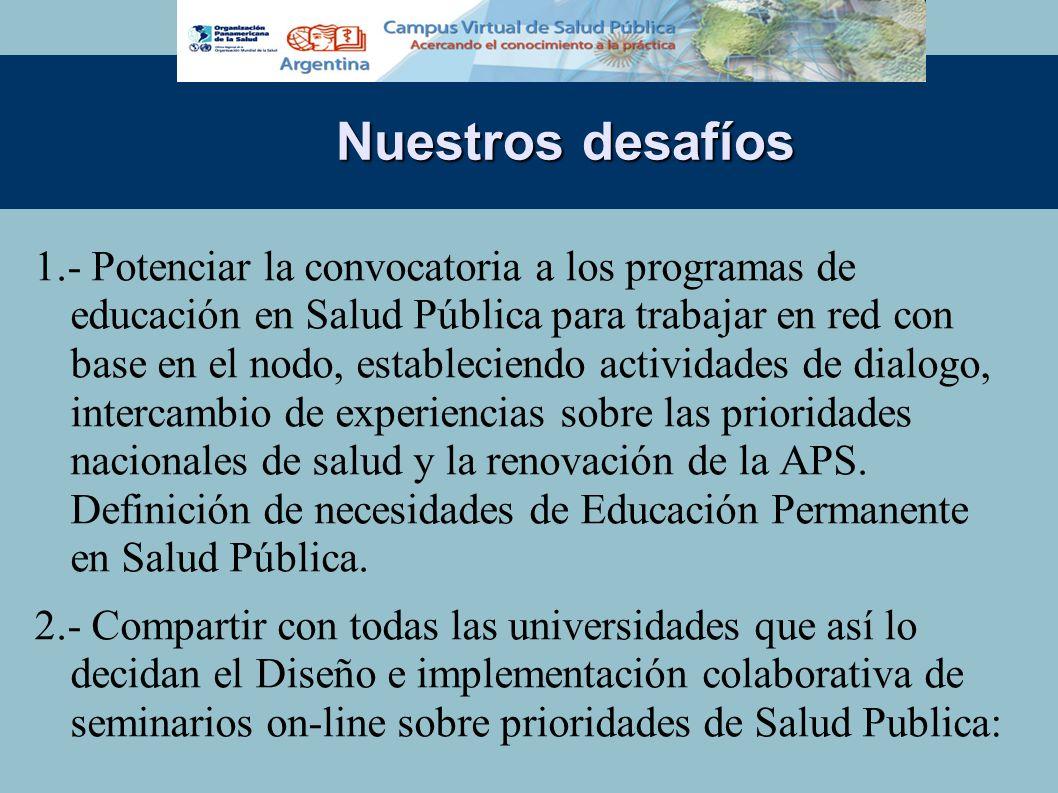 Nuestros desafíos 1.- Potenciar la convocatoria a los programas de educación en Salud Pública para trabajar en red con base en el nodo, estableciendo