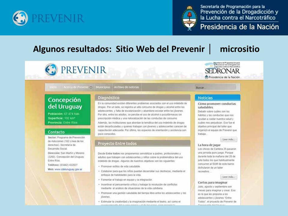 Algunos resultados: Sitio Web del Prevenir micrositio