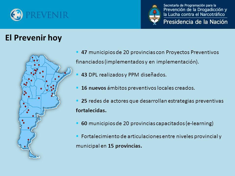 47 municipios de 20 provincias con Proyectos Preventivos financiados (implementados y en implementación). 43 DPL realizados y PPM diseñados. 16 nuevos
