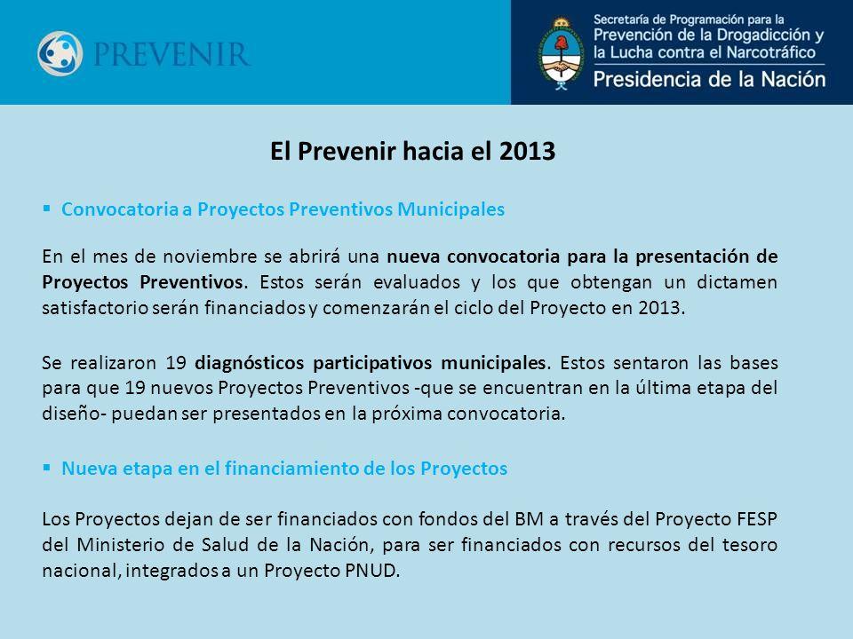 En el mes de noviembre se abrirá una nueva convocatoria para la presentación de Proyectos Preventivos. Estos serán evaluados y los que obtengan un dic
