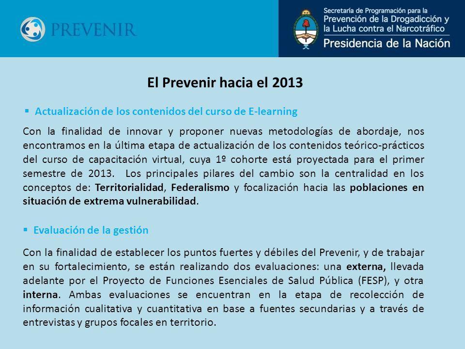 Con la finalidad de establecer los puntos fuertes y débiles del Prevenir, y de trabajar en su fortalecimiento, se están realizando dos evaluaciones: una externa, llevada adelante por el Proyecto de Funciones Esenciales de Salud Pública (FESP), y otra interna.