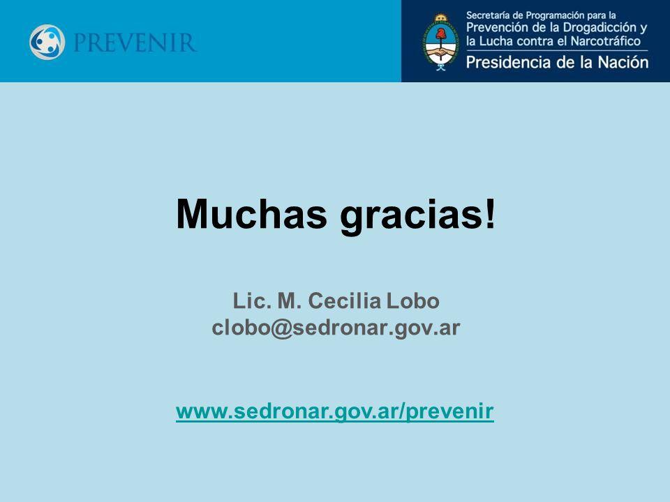 Muchas gracias! Lic. M. Cecilia Lobo clobo@sedronar.gov.ar www.sedronar.gov.ar/prevenir