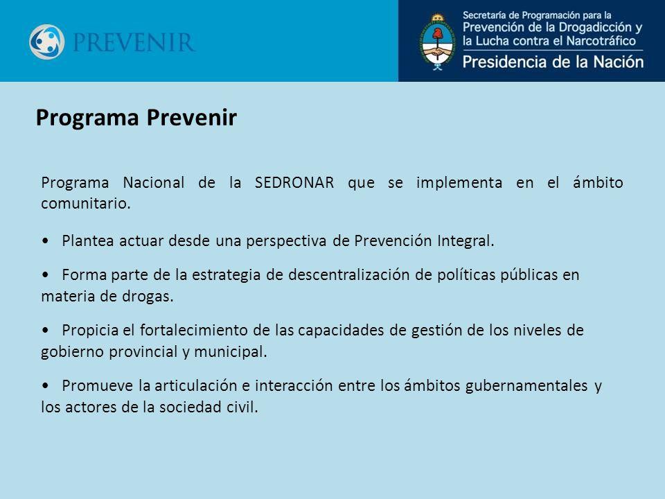 Programa Nacional de la SEDRONAR que se implementa en el ámbito comunitario. Plantea actuar desde una perspectiva de Prevención Integral. Forma parte