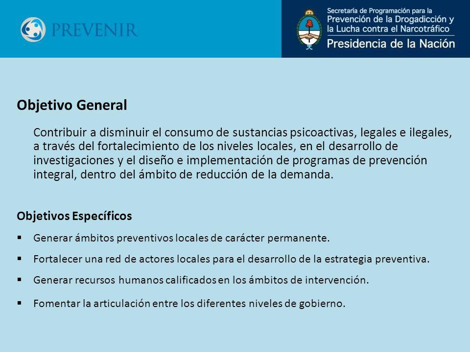 Objetivo General Contribuir a disminuir el consumo de sustancias psicoactivas, legales e ilegales, a través del fortalecimiento de los niveles locales, en el desarrollo de investigaciones y el diseño e implementación de programas de prevención integral, dentro del ámbito de reducción de la demanda.
