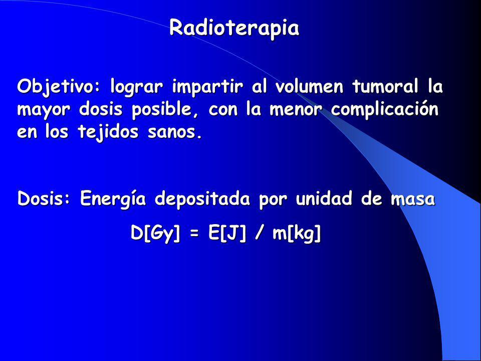 Radioterapia Objetivo: lograr impartir al volumen tumoral la mayor dosis posible, con la menor complicación en los tejidos sanos.