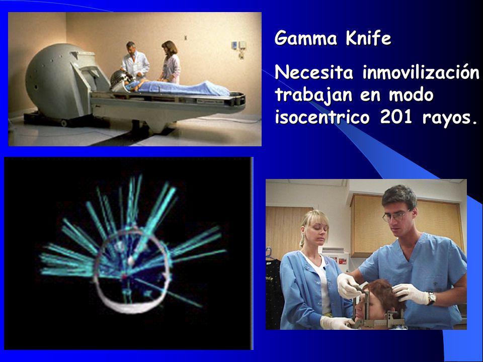 Gamma Knife Necesita inmovilización trabajan en modo isocentrico 201 rayos.