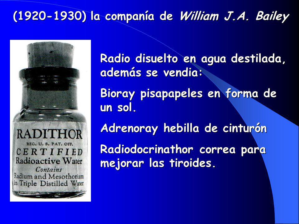 Radio disuelto en agua destilada, además se vendia: Bioray pisapapeles en forma de un sol.