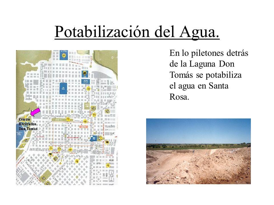 Potabilización del Agua. En lo piletones detrás de la Laguna Don Tomás se potabiliza el agua en Santa Rosa.