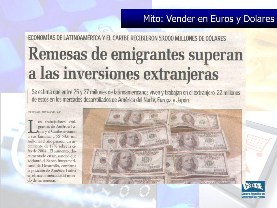 Mito: Vender en Euros y Dolares