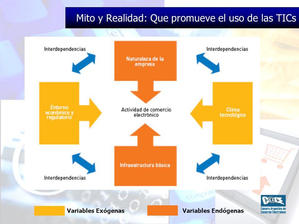 Mito y Realidad: Que promueve el uso de las TICs Variables ExógenasVariables Endógenas