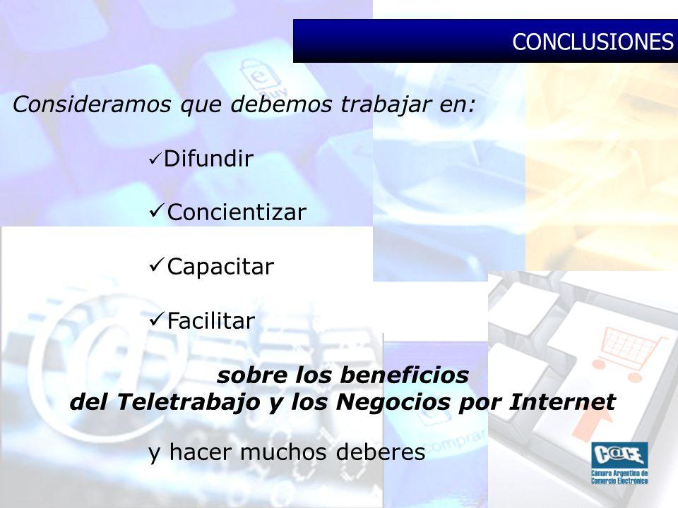 Consideramos que debemos trabajar en: Difundir Concientizar Capacitar Facilitar sobre los beneficios del Teletrabajo y los Negocios por Internet y hacer muchos deberes CONCLUSIONES