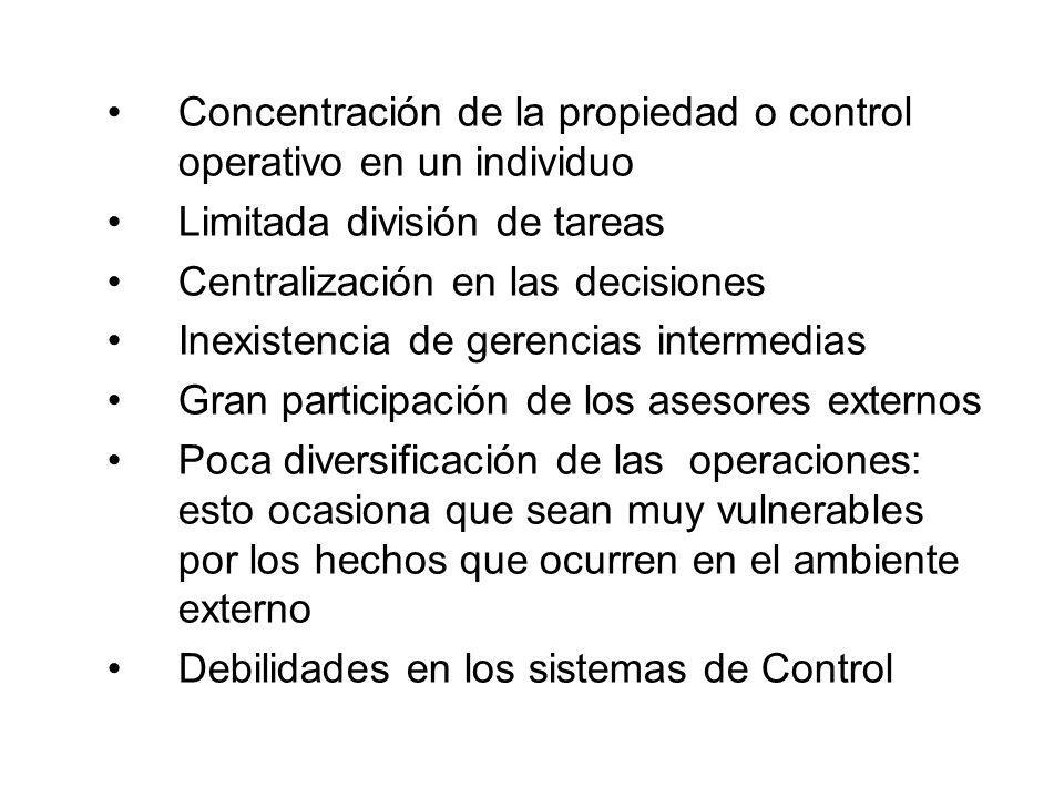 Concentración de la propiedad o control operativo en un individuo Limitada división de tareas Centralización en las decisiones Inexistencia de gerenci