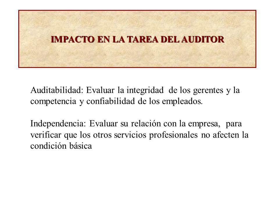 IMPACTO EN LA TAREA DEL AUDITOR Auditabilidad: Evaluar la integridad de los gerentes y la competencia y confiabilidad de los empleados. Independencia: