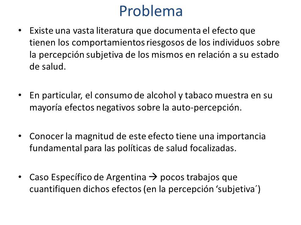 Objetivos Conocer el impacto que tienen las conductas relacionadas al abuso de alcohol y tabaco sobre las percepciones subjetivas del estado de salud en Argentina en el período 2005- 2009.