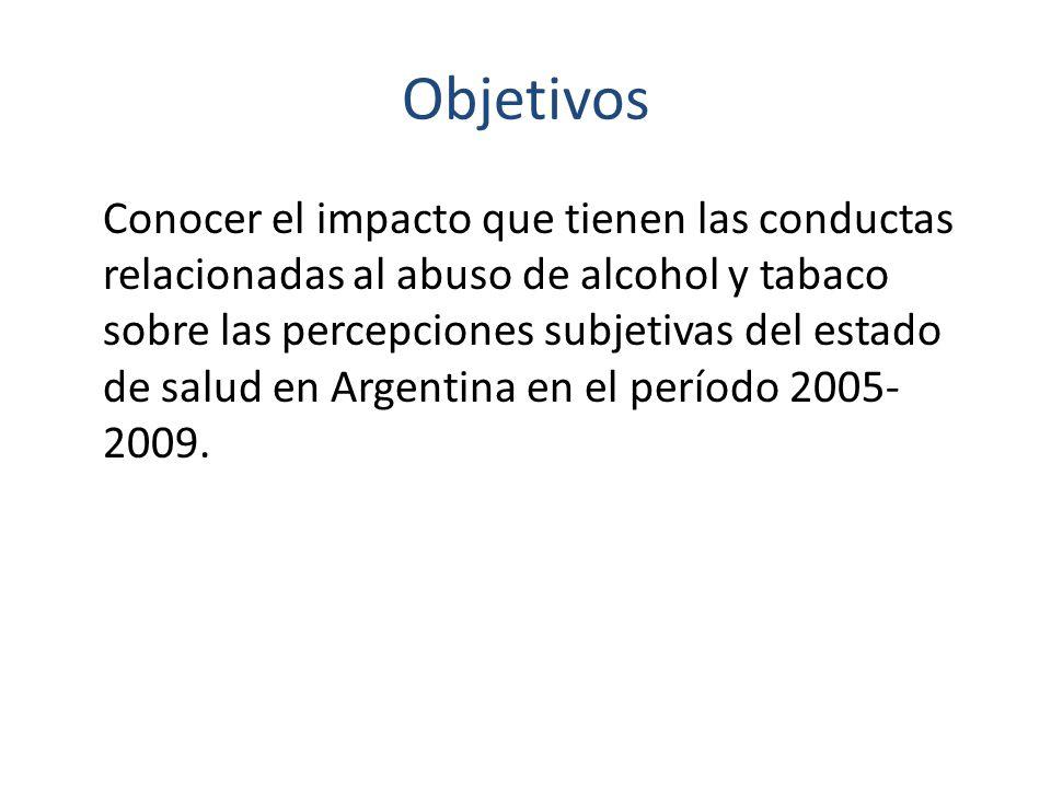 Objetivos Conocer el impacto que tienen las conductas relacionadas al abuso de alcohol y tabaco sobre las percepciones subjetivas del estado de salud