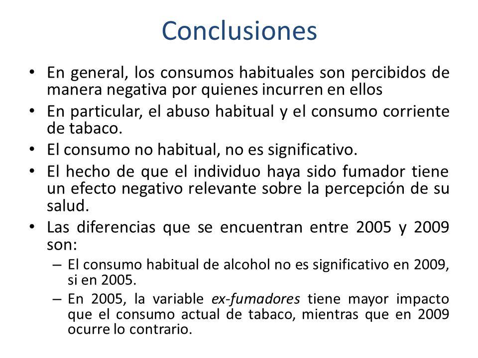 Conclusiones En general, los consumos habituales son percibidos de manera negativa por quienes incurren en ellos En particular, el abuso habitual y el