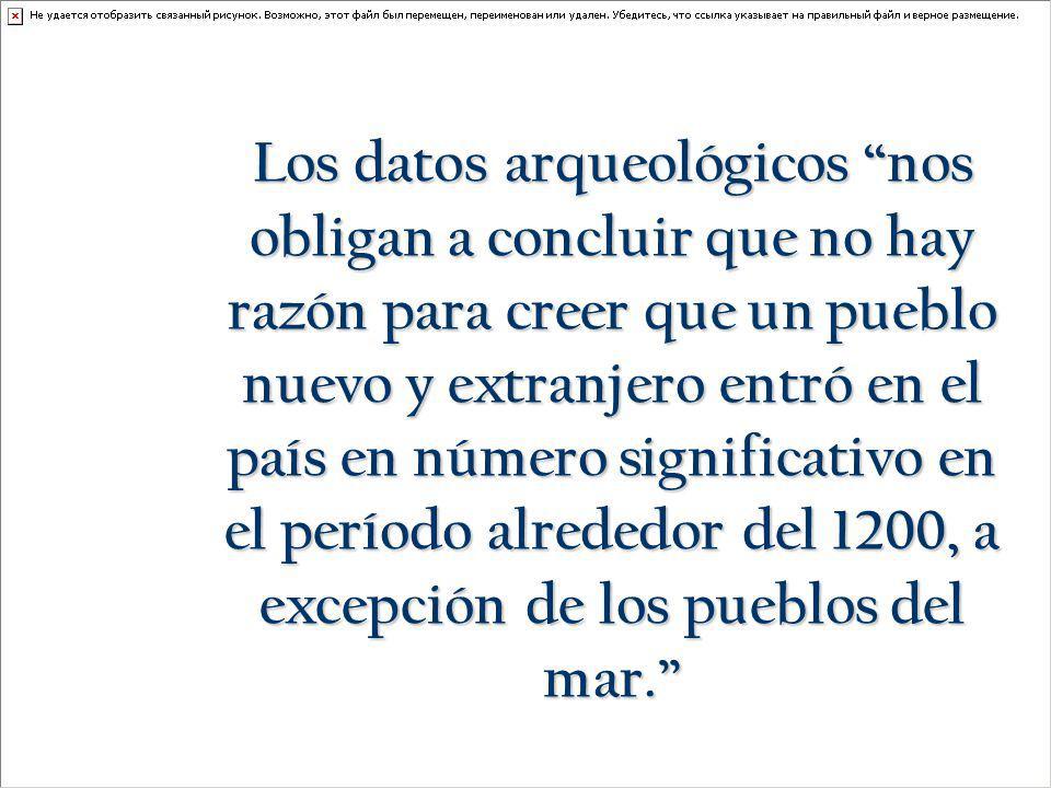 Los datos arqueológicos nos obligan a concluir que no hay razón para creer que un pueblo nuevo y extranjero entró en el país en número significativo en el período alrededor del 1200, a excepción de los pueblos del mar.