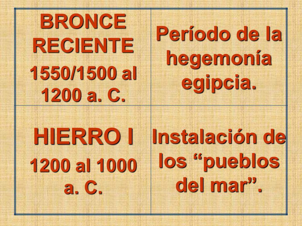 BRONCE RECIENTE 1550/1500 al 1200 a. C. Período de la hegemonía egipcia.