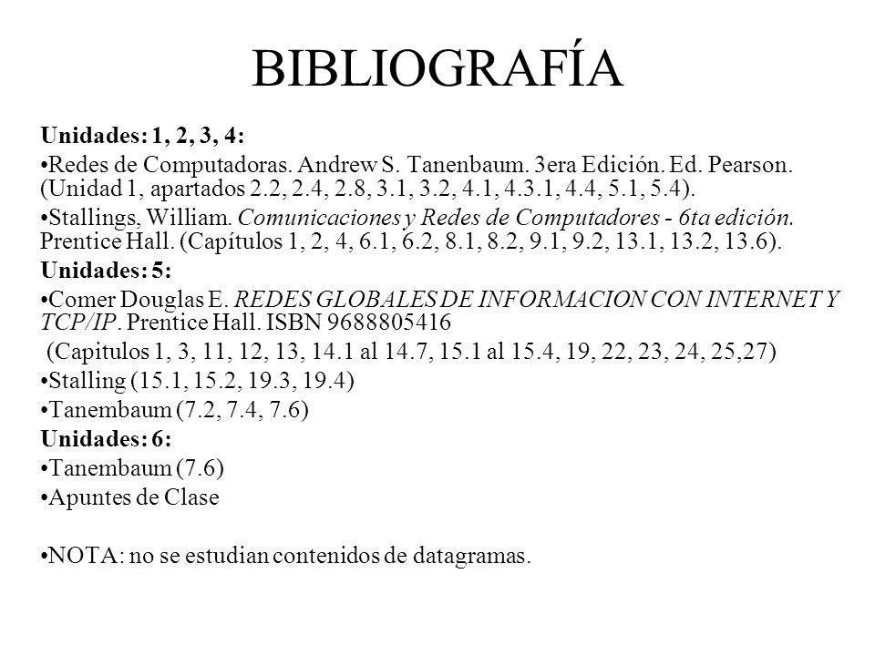 BIBLIOGRAFÍA Unidades: 1, 2, 3, 4: Redes de Computadoras.