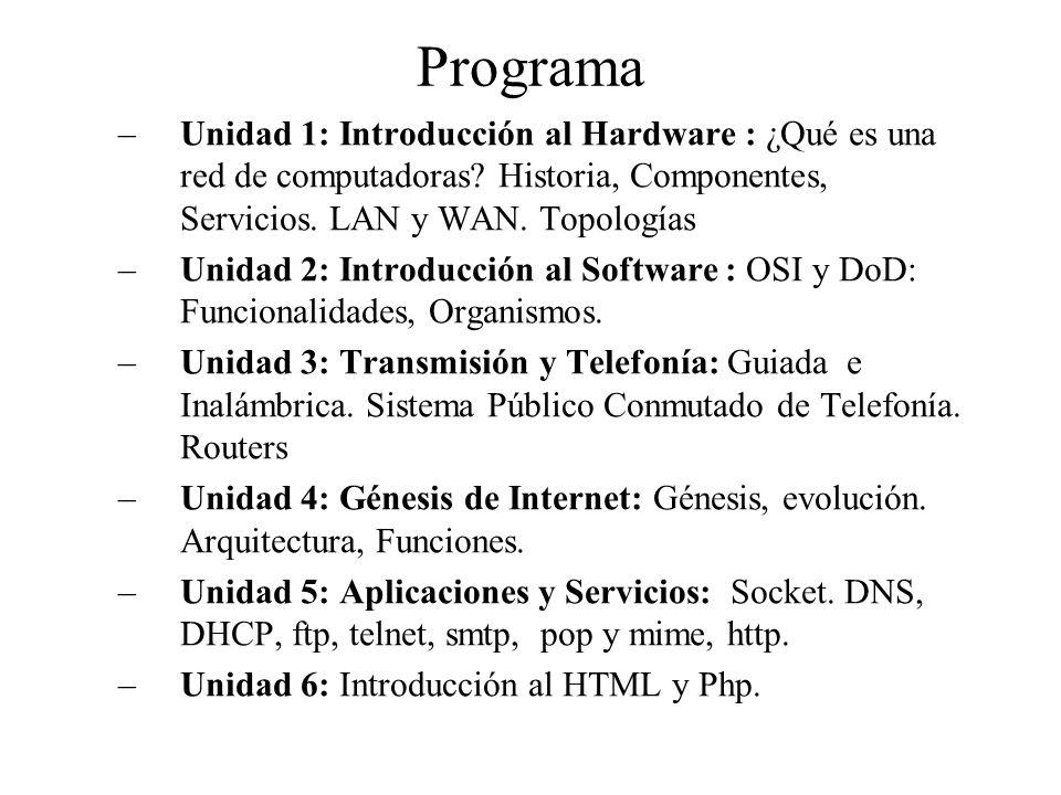 Programa –Unidad 1: Introducción al Hardware : ¿Qué es una red de computadoras.