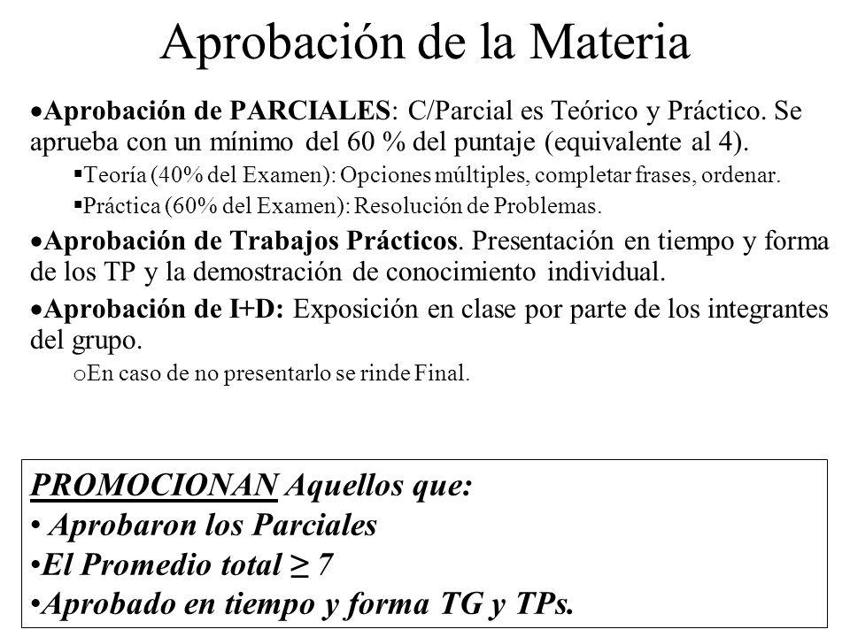 Aprobación de la Materia Aprobación de PARCIALES: C/Parcial es Teórico y Práctico.