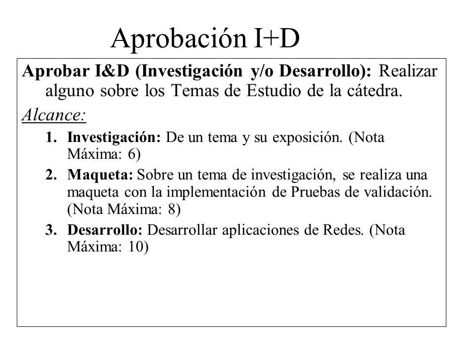 Aprobación I+D Aprobar I&D (Investigación y/o Desarrollo): Realizar alguno sobre los Temas de Estudio de la cátedra.